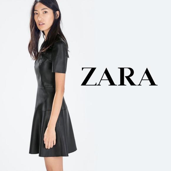 9ec7e24842 Zara Black Faux Leather Short Sleeve Skater Dress.  M 5b3e7e64819e9065a5ec762a